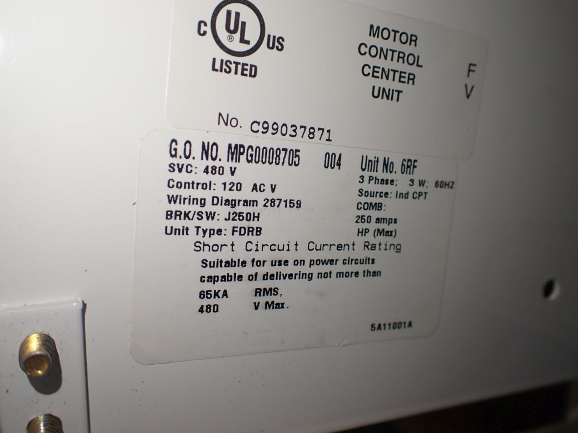 Eaton Freedom 2100 Series Motor Control Center | (2) F206-15A-10HP; (1) FDRB-250A; (1) FDRB-400A; ( - Image 51 of 104
