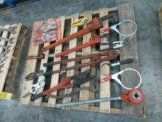 Lot of (16) Assorted Tooling Components - Includes:; Exhaust Cutoff Tools; Heavy Duty Clamp Tool;