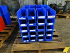 """Lot of (60) Akro Bins Blue and Red Plastic Stackable Bins - Part No. 30-230; 5-1/2""""W x 10-7/8""""L x"""