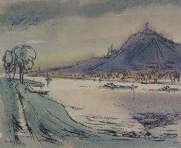 FREY, Martin (*1907 +1991), Aquarell, Blick über den Rhein auf den Drachenfels,