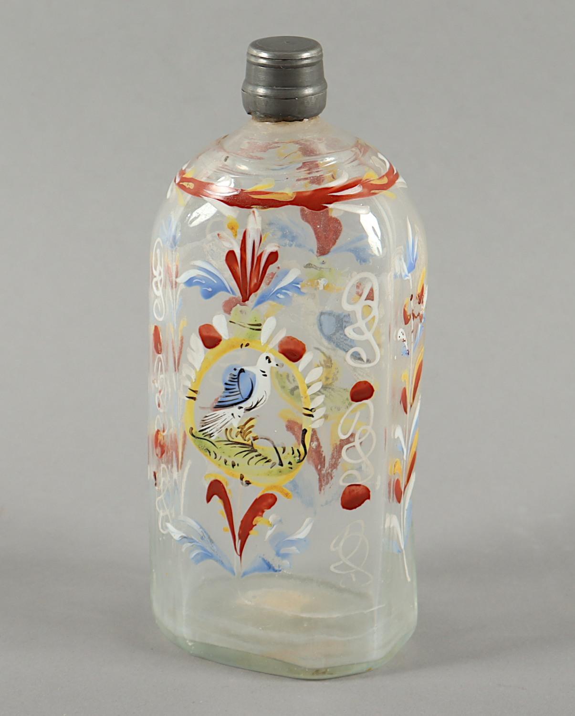 KLEINE FLASCHE, farbloses Glas,