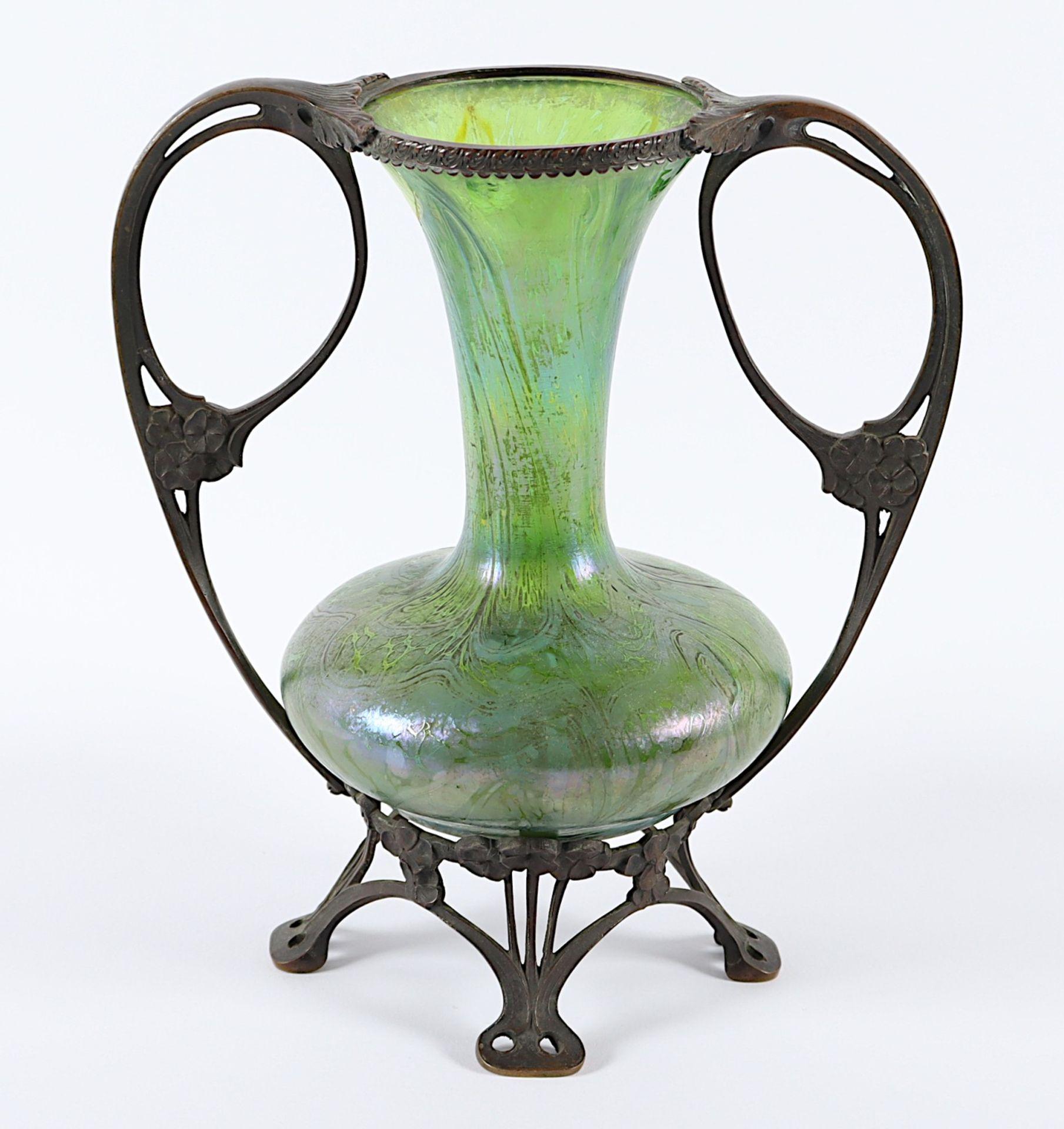 JUGENDSTILVASE, grün getöntes Glas, - Image 2 of 2