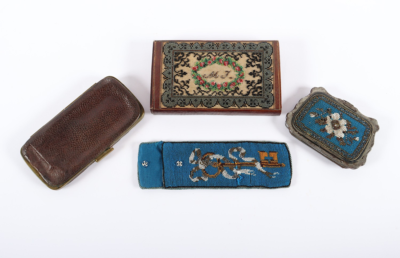 VIER ETUIS, Leder, Metall, farbige - Image 2 of 3