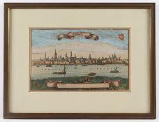 DÜSSELDORF, kolorierter Kupferstich,