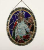 <de>OVALES GLASFENSTER, Bleiverglasung mit farbigen Scheiben, Dm 58, leicht besch., DEUTSCH, um 1900