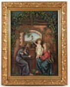 <de>DIE HEILIGE FAMILIE, Gipsrelief, polychrom bemalt, originaler Goldstuckrahmen, 82 x 67, besch.,
