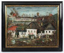 <de>DIORAMA, Landschaft mit Gebäuden und Figuren, farbig bemalte und bedruckte Pappe und Papier, unt