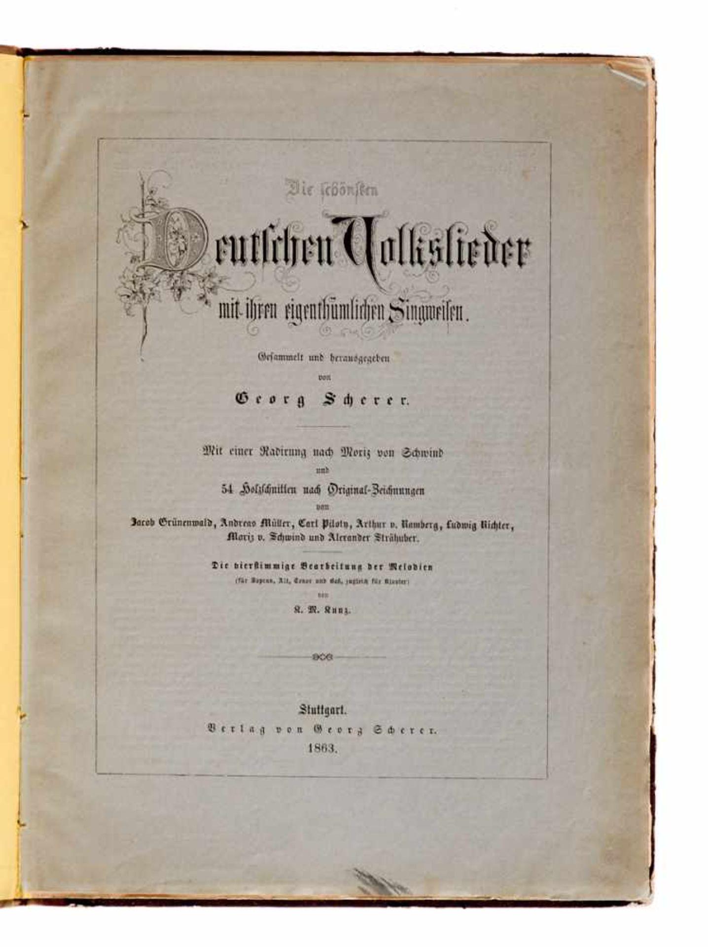 Scherer - Subscriptions-Liste zu G. Scherer's illustrirten Deutschen Volksliedern. - Bild 2 aus 3