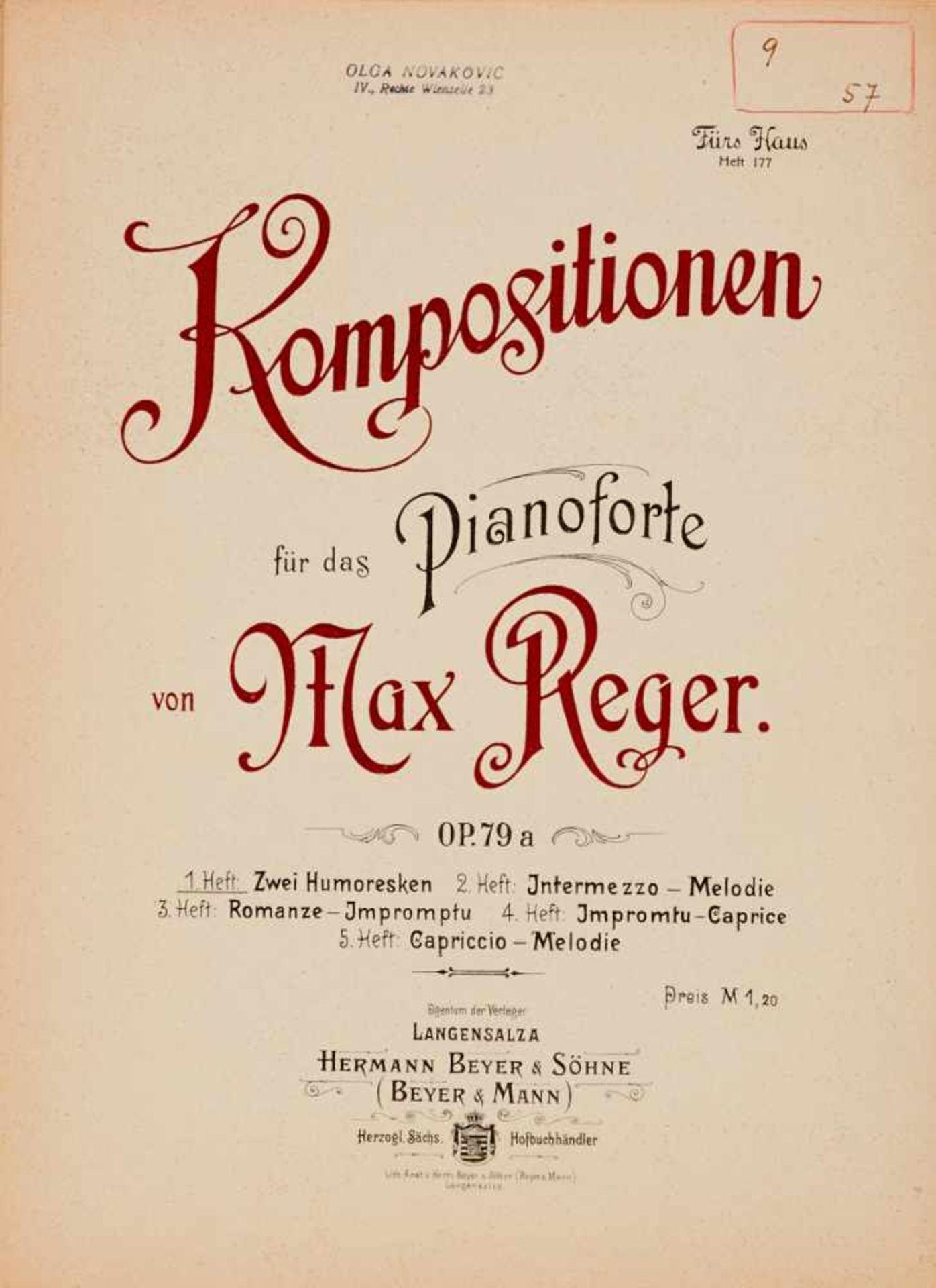 - Aus dem Besitz der Schönberg-Schülerin - Olga Novakovic - Reger, M., - Bild 2 aus 2